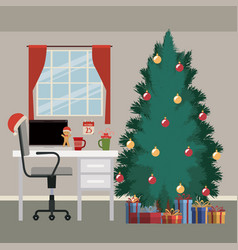 Christmas scene with window background and office vector
