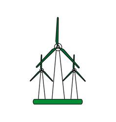 Color silhouette image wind turbine eolic energy vector