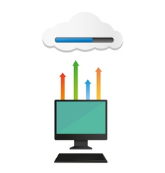 Computer uploaded to cloud vector image