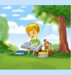 Cute boy reading book vector