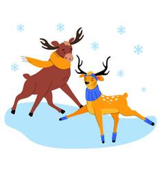 cute elk and deer on ice - flat design style vector image