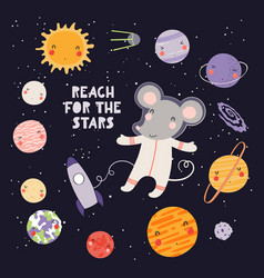Cute mouse astronaut vector