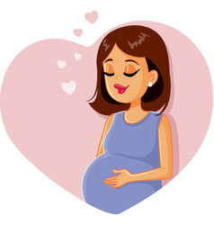 cute pregnant girl vector image
