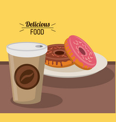 Delicious food sweet donuts with paper coffee cup vector