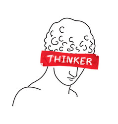 Design for t-shirt with slogan thinker on red tape vector