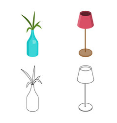 Design of bedroom and room symbol vector