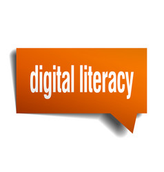 Digital literacy orange 3d speech bubble vector