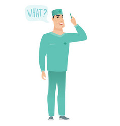 Doctor with question what in speech bubble vector