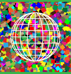 earth globe sign white icon on colorful vector image