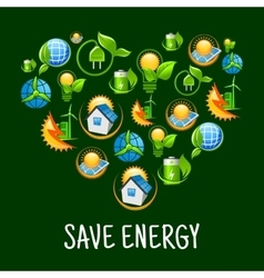 Eco heart with icons of save energy green power vector image