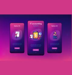 Enterprise accounting app interface template vector