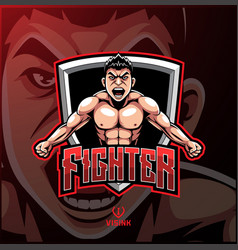 Fighter sport mascot logo design vector