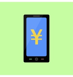 Flat style smart phone with yen vector
