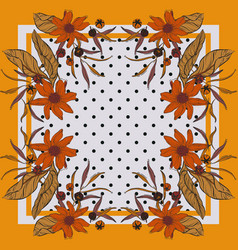Floral bloom rectangle design scarf repetiotion vector