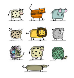 funny animals set for your design vector image
