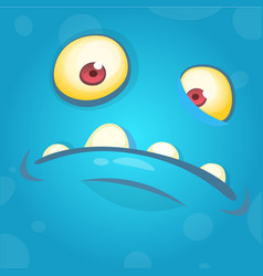 funny smiling cartoon monster face avatar vector image vector image