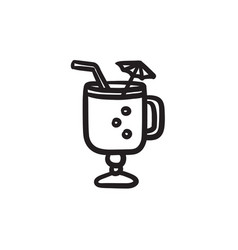 Glass with drinking straw umbrella sketch icon vector
