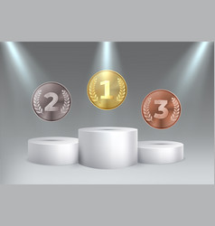golden silver bronze awards for first second vector image