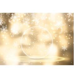 golden snow globe on christmas background vector image