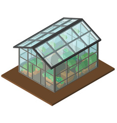 Greenhouse with many plants inside in 3d design vector