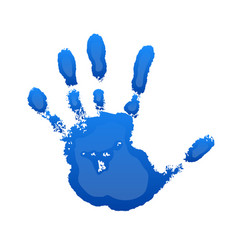 Hand print 3d isolated on white background blue vector