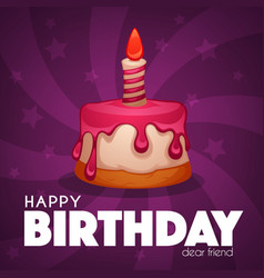 happy birthday greeting card with image vector image