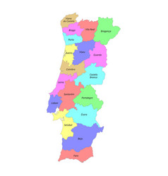 high quality labeled map portugal with borders vector image