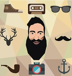 hipster character design with elements vector image
