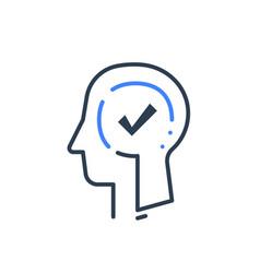 Human head profile and check mark psychology vector