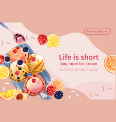 Ice cream frame design with mix berries vector