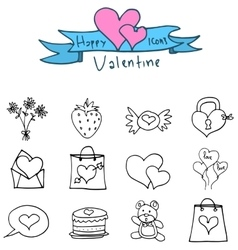 Icons of valentine with candy love doll vector