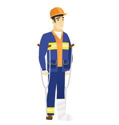 injured builder with broken leg vector image