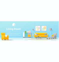 Interior background with cozy colorful livinginter vector