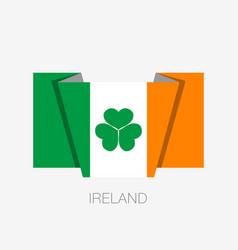 Ireland flag with shamrock flat icon waving flag vector