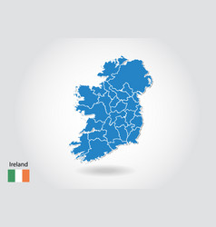 Ireland map design with 3d style blue ireland map vector
