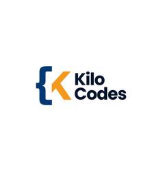 k letter mark code logo icon vector image