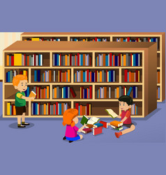 kids reading a book vector image