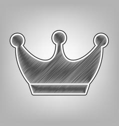 King crown sign pencil sketch imitation vector