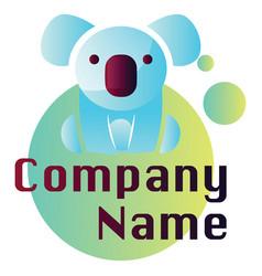 light blue koala on blue and green circle logo vector image