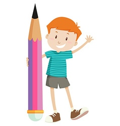 Little boy and giant pencil vector image