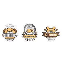 Logo for pet premium shop or store set vector