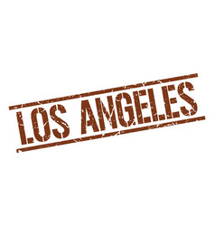 Los angeles brown square stamp vector