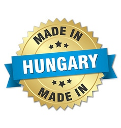 made in Hungary gold badge with blue ribbon vector image