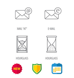Mail e-mail and hourglass icons vector
