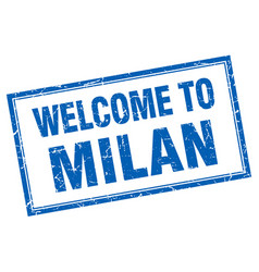 Milan blue square grunge welcome isolated stamp vector
