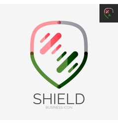 Minimal line design logo shield icon vector image vector image