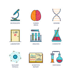 Minimal lineart flat science icon set vector