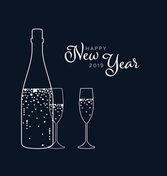 minimalist new year party flyercard template vector image