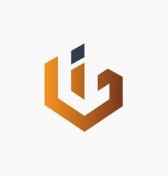 modern bi letter monogram logo vector image