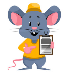 Mouse with schedule on white background vector